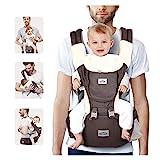 SIMBR Babytrage Ergonomisch mit Sitz für Die Hüfte, 12 Positionen, Multifunktional, 100% Baumwolle, Sicher und Komfortabel, für Neugeborene und Kinder von 3,5 Bis 18 Kg, Grau
