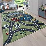 Paco Home Kinder-Teppich Für Kinderzimmer, Spiel-Teppich Mit Straßen-Motiv, In Grün, Grösse:120x160 cm