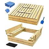Sandkasten mit Deckel Sandbox 120x120 150x150 Sandkiste mit Sitzbänken Holz Spielzeug (120 x 120 cm)