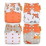 Wenosda 4PCS Baby Taschenwindeln StoffwindelWaschbare wiederverwendbare Windeln Legen Sie eine All-in-One-Taschenwindel für die meisten Babys und Kleinkinder ein (Orangenfuchs + Eichhörnchen)