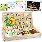 lenbest Montessori Mathe Spielzeug, Magnetisch Holz Lernbox, Zahlenlernspiel mit Spielkarten&Tafel, Spielzeug Doodle aus Holz Zeichnung, Lernspielzeug für Kinder 3 4 5 Jahre Alt