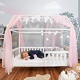 Alcube praktisches, Variables Hausbett 160x80 mit Rausfallschutz und Lattenrost in weiß Kinderbett 80 x 160 für Mädchen und Jungen