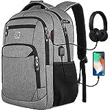 marcello Laptop Rucksäcke mit USB-Ladeanschluss Herren Damen für Arbeit Schule Uni Schulrucksack für Jungen Teenager mit Laptopfach & Anti Diebstahl Tasche (15,6 Zoll Grau)