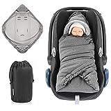Zamboo Einschlagdecke für Babyschale und Kinderwagen - praktische Alternative zum Baby Winter-Fußsack, weiches und wattiertes Thermo Fleece - Grau (Basic)