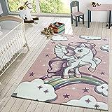 TT Home Kinder Teppich Moderner Spielteppich Einhorn Sternen Design Mit Wolken Rosa, Größe:140x200 cm