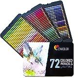 72 Buntstifte mit Metallbox von Zenacolor - 72 einzigartige Farben für Zeichnung und Malbuch für Erwachsene - Leichter Zugang mit 3 Fächern - Ideales Set für Künstler, Erwachsene und Kinder