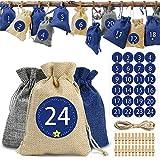O-Kinee Adventskalender zum Befüllen - Stoffbeutel, Weihnachten Geschenksäckchen, Adventskalender Selber Basteln 2020, Weihnachtskalender Bastelset, Basteln Füllung (Blau)