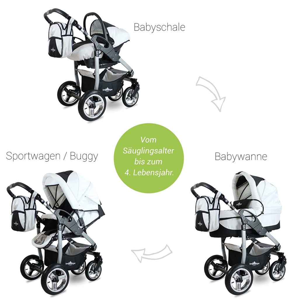 Schwarz-weißer Kinderwagen in Babyschalen, Sportwagen- sowie Babywannenfunktion