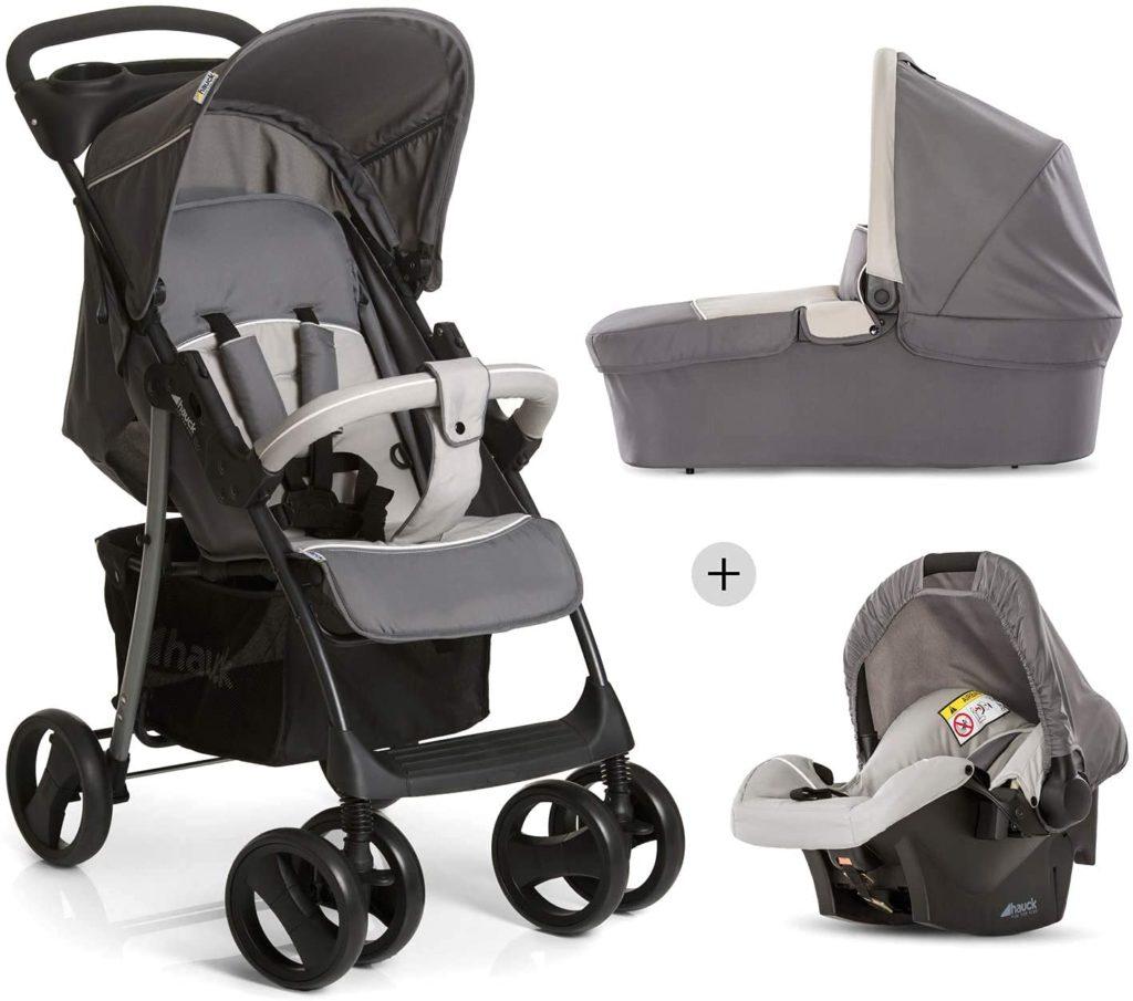 Schwarz-grauer Kinderwagen mit Sitz- und Liegefunktion sowie Babyschale