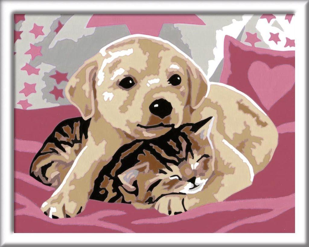 Ausgemalte Malen nach Zahlen Vorlage mit Hund und Katze