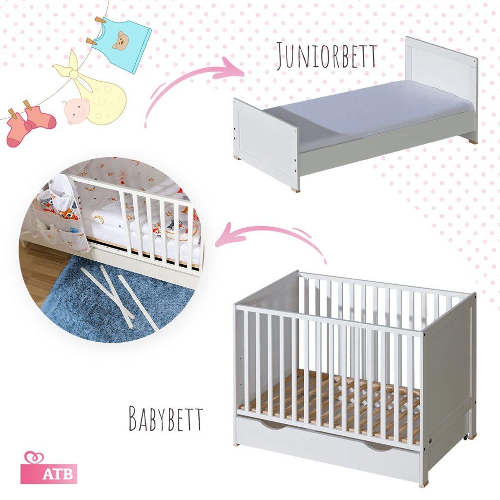 Umbaumöglichkeit vom Babybett zum Juniorbett