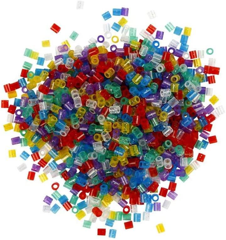 Bunte Bügelperlen in Glitter Optik