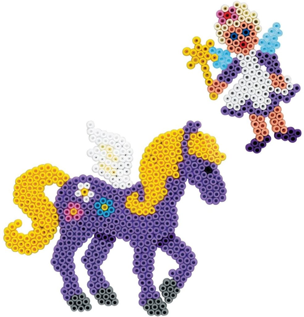 Lila Pferd und Fee aus Bügelperlen