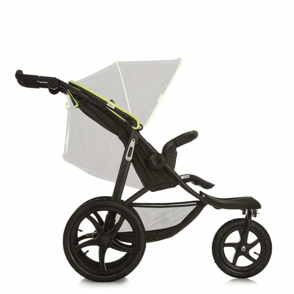 Schwarzer Dreirad Kinderwagen in Seitenansicht