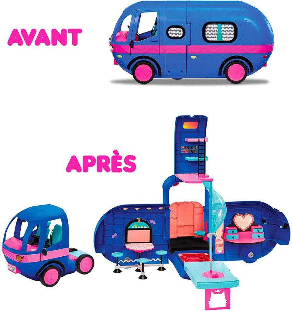 Blau-pinker Fashion Camper in geschlossener und geöffneter Variante