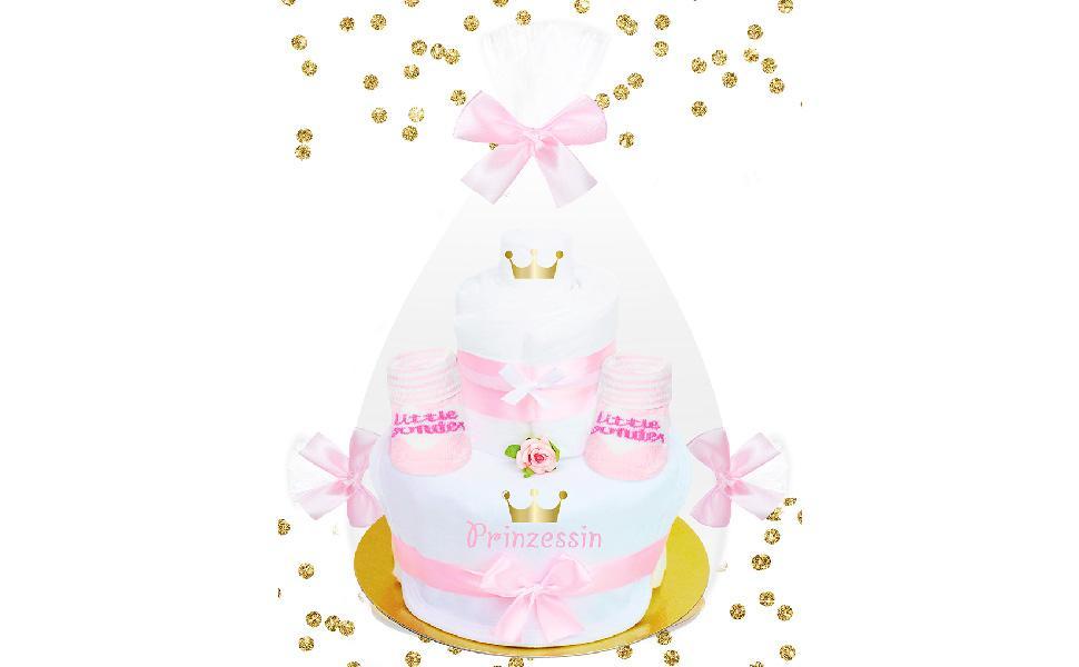 Weiß-rosa Windeltorte mit goldenem Konfetti