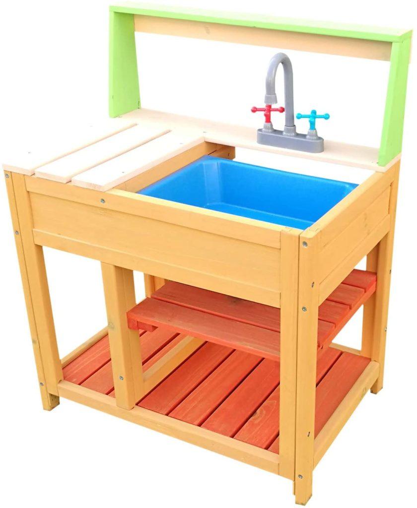 Wiltec Outdoor-Spielküche aus Holz mit Spülbecken