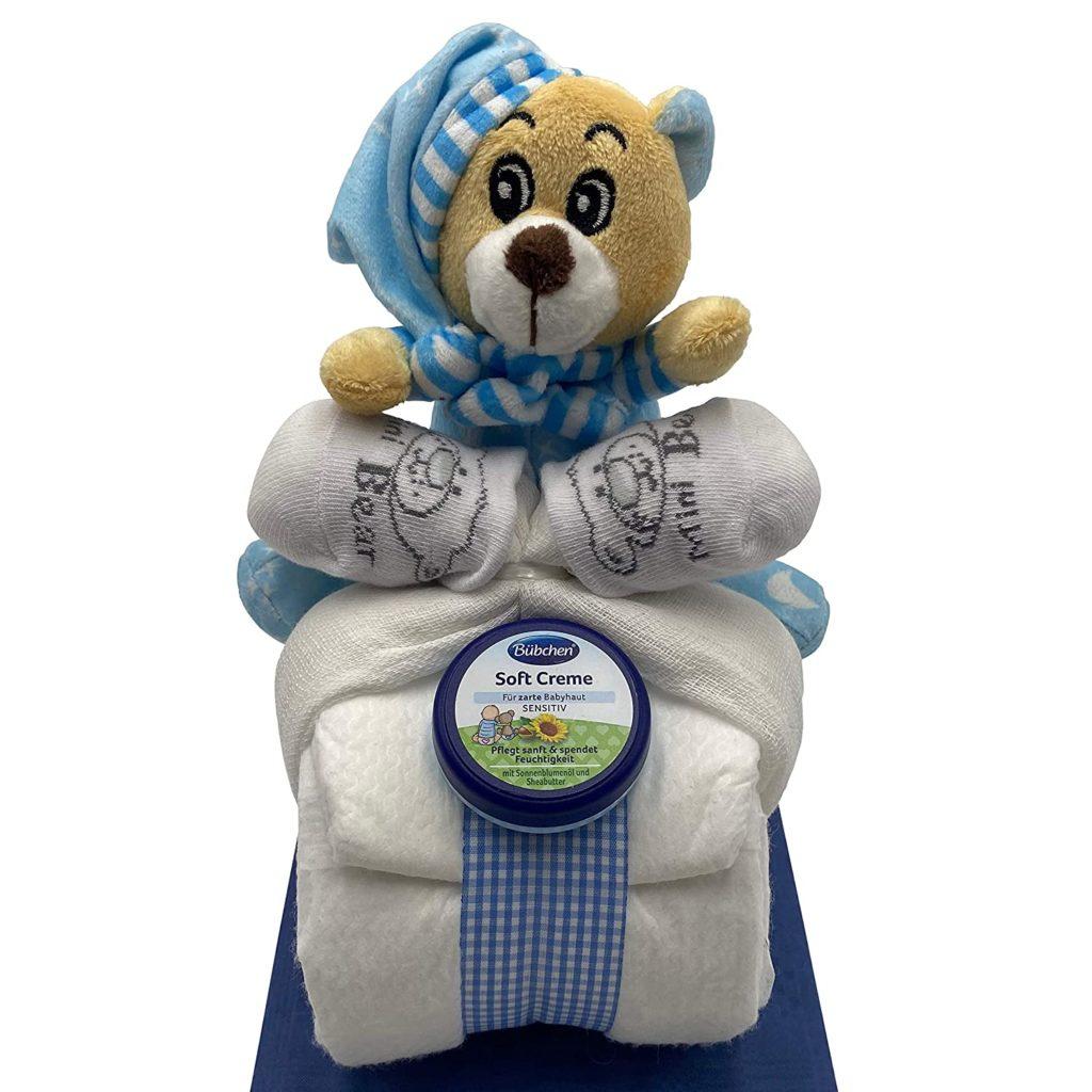 Weiß-blaue Windeltorte mit Teddy und Babycreme