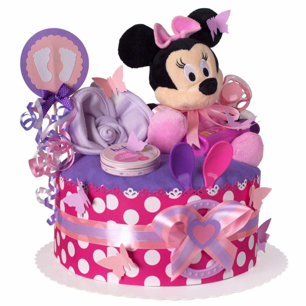 Pinke Minnie-Mouse Windeltorte mit lila Details